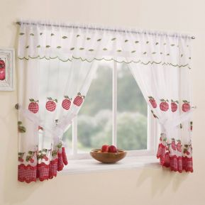 winchester GORGEOUS RED fruits WHITE voile kitchen WINDOW TIEBACK CURTAIN SET5 DROPS FREE POSTAGE